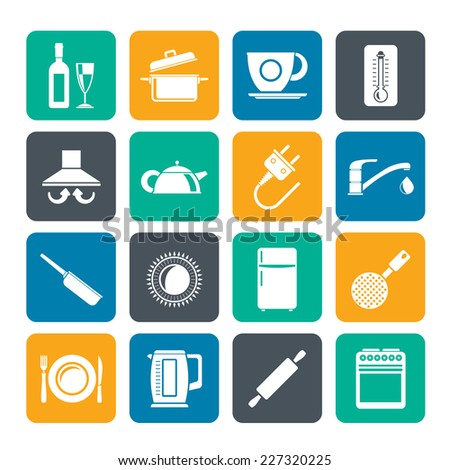 Silhouette kitchen objects and accessories icons- vector icon set - stock vector