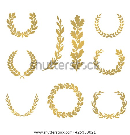 Silhouette laurel and oak wreaths in different  shapes - half circle, circle, branch - stock vector