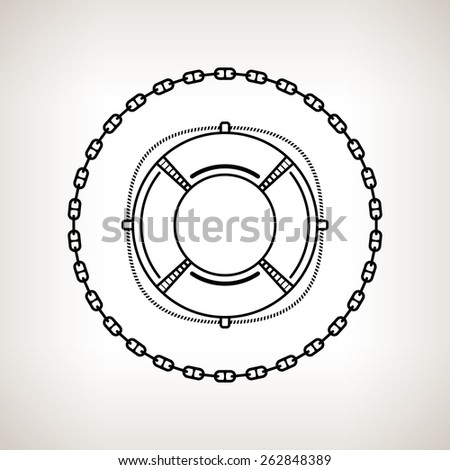 Silhouette lifebuoy, contour of the lifebelt in the circle of the chain on a light background,  black and white  vector illustration - stock vector