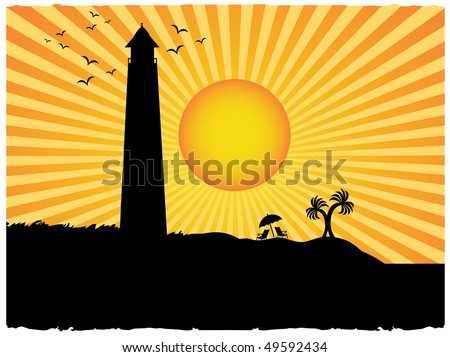 Silhouette lighthouse beach surrounded sunny rays grunge - stock vector
