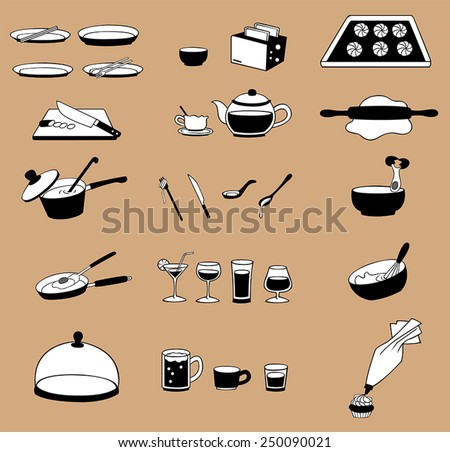 silhouette line drawing kitchenware icon set, create by vector - stock vector