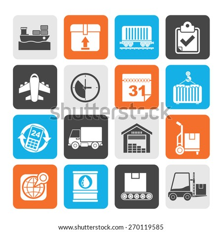 Silhouette Logistic and Shipping icons - vector icon set - stock vector