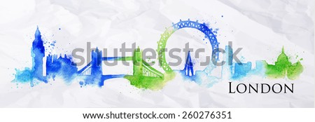 Silhouette London city painted with splashes of watercolor drops streaks landmarks with a blue-green colors - stock vector