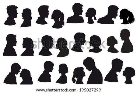 Silhouette loving couple, kiss moment. Love, kiss, sensuality. Isolated on white background, face in profile - stock vector