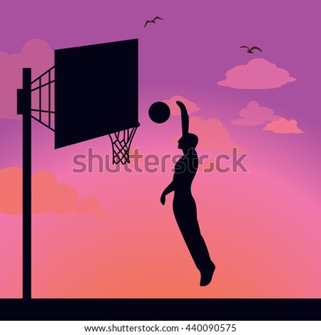 silhouette man athlete player jump action basket ball - stock vector