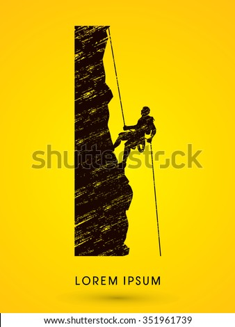 Silhouette Man climbing on a cliff, designed using grunge brush  graphic vector.