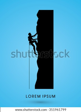 Silhouette Man climbing on a cliff graphic vector. - stock vector