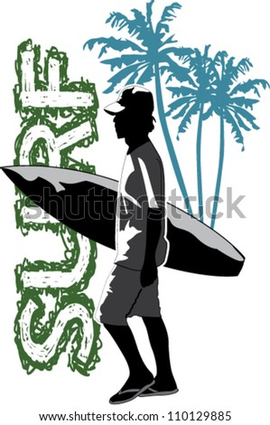 silhouette man going to surfing - stock vector