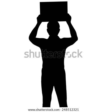 Silhouette man holding banner, vector format - stock vector