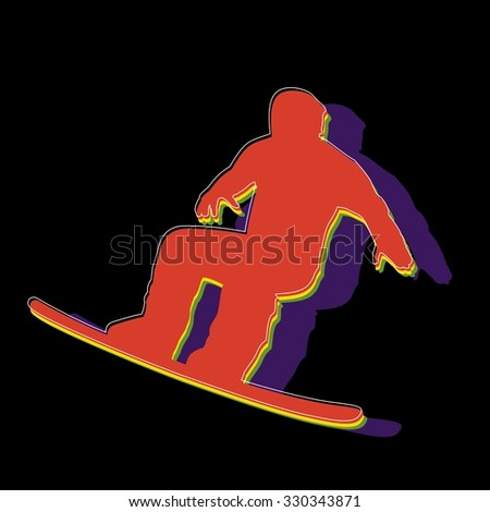 silhouette man jumps on snowboard, color illustration, black background