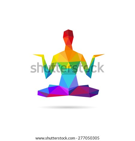 Silhouette man practicing yoga abstract, vector illustration - stock vector