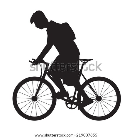 Silhouette man rides the bicycle, vector format