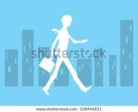 Silhouette Man Running Late for Work - stock vector