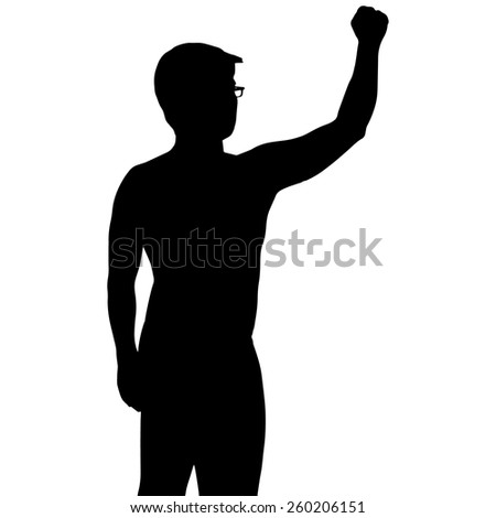 Silhouette man show his hand up