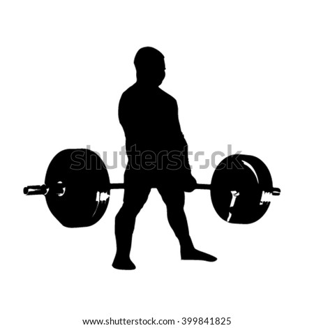 silhouette man with barbell deadlift - stock vector