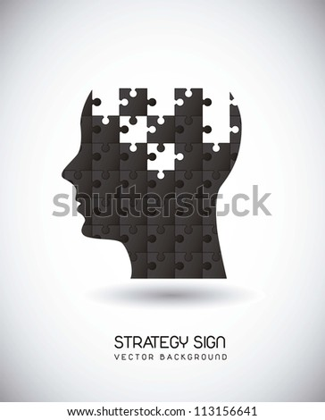 silhouette man with puzzles over gray background. vector illustration - stock vector