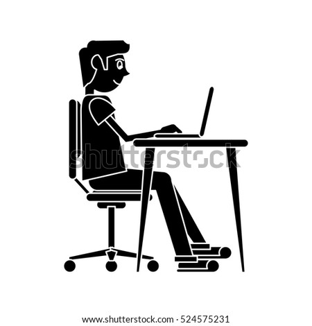 silhouette man working front computer with pc