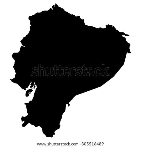 Silhouette map Ecuador, South America - stock vector
