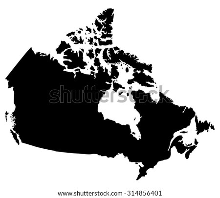 Silhouette map of Canada, North America - stock vector