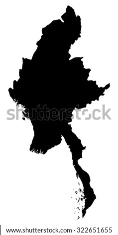 Silhouette map of Myanmar, Asia - stock vector