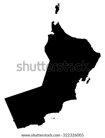 Silhouette map of Oman, Asia - stock vector