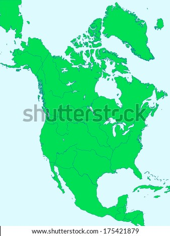 Silhouette map of the North America with major rivers and lakes. All objects are independent and fully editable  - stock vector