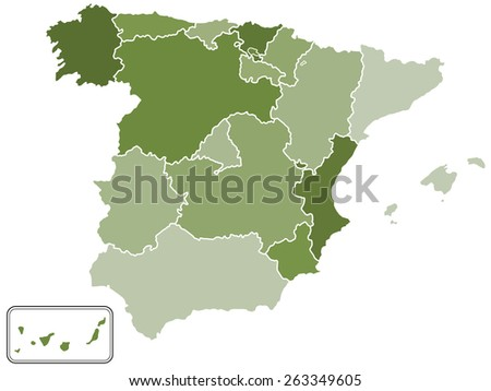 Silhouette map of the Spain with regions and islands. All objects are independent and fully editable  - stock vector