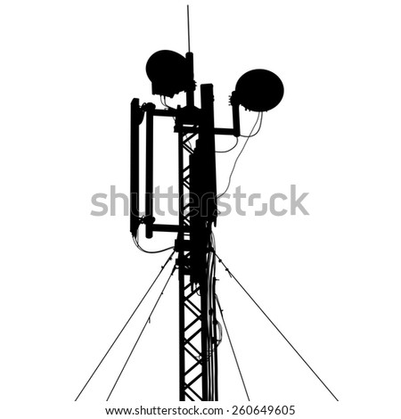 Silhouette mast antenna mobile communications. Vector illustration.