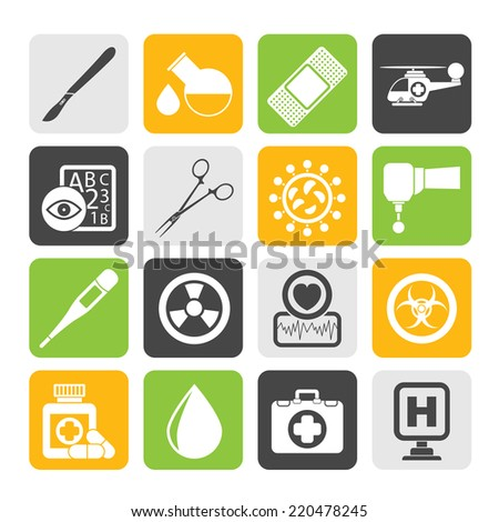 Silhouette Medicine and hospital equipment icons - vector icon set - stock vector