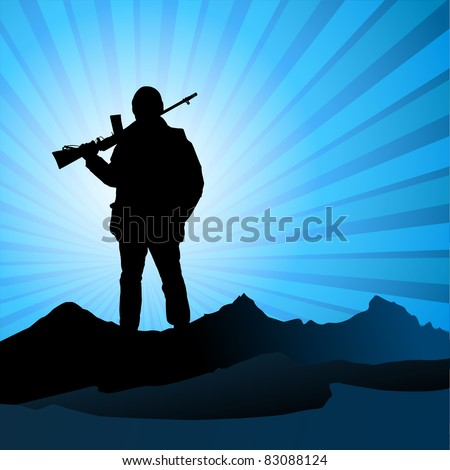 silhouette men with a gun, vector illustration