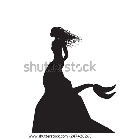 silhouette mermaid sitting on the edge of the cliff, shadows, black and white - stock vector
