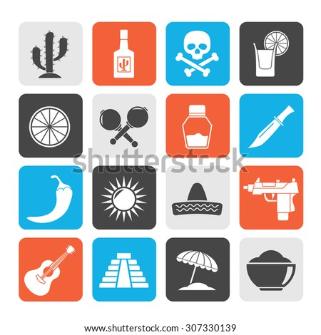 Silhouette Mexico and Mexican culture icons - vector icon set - stock vector