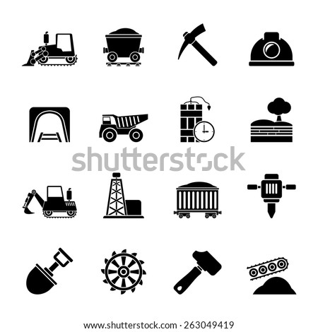 Silhouette Mining and quarrying industry icons - vector icon set - stock vector