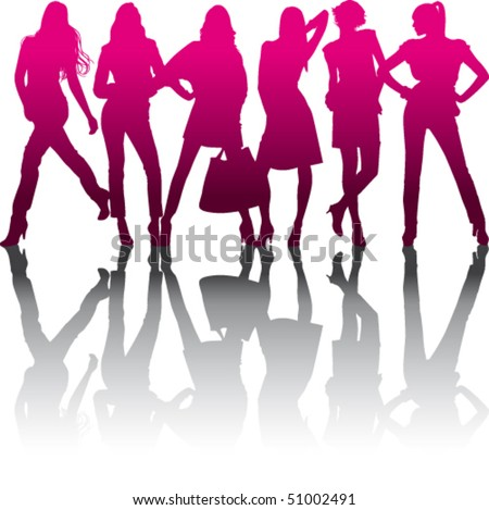 Silhouette models with reflection on white background