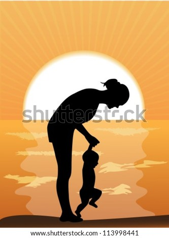 Silhouette mother leads the child's hands in the sunset by the sea