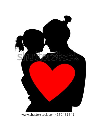 silhouette mother with a baby with red heart - stock vector