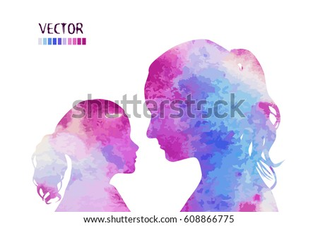 Silhouette mother with a daughter. Vector