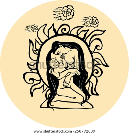 Silhouette mother with baby. Vector illustration. Ethnic style. - stock vector