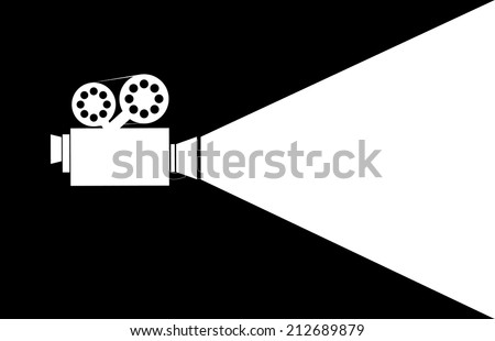 silhouette movie projector  - stock vector