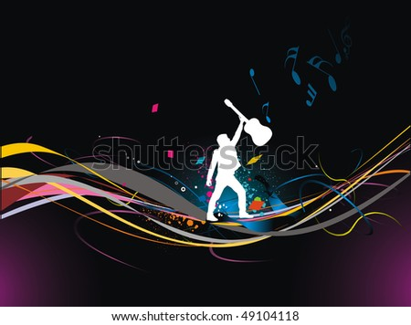 silhouette music men play a guitar with color full wave line background, Vector Illustration, No mesh in this Vector - stock vector