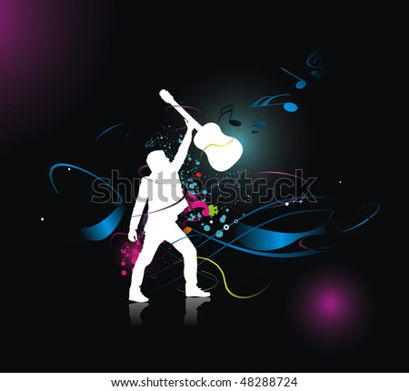 silhouette music men play a guitar with color wave line background, Vector Illustration, No mesh in this Vector - stock vector