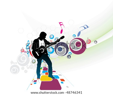 silhouette music men play a guitar with color wave line background, Vector Illustration, no mesh in this vector. - stock vector