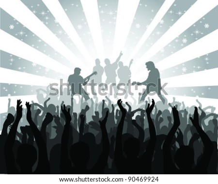 silhouette musical concert with the solemn background 2, vector