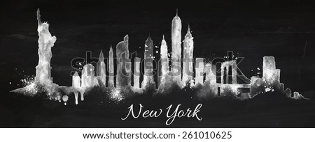 Silhouette New york city painted with splashes of chalk drops streaks landmarks drawing with chalk on blackboard - stock vector