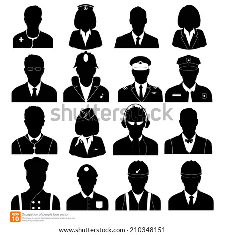 Silhouette  Occupation man avatar profile pictures  - stock vector