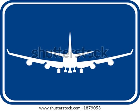 Silhouette of a air plane with a blue background. - stock vector