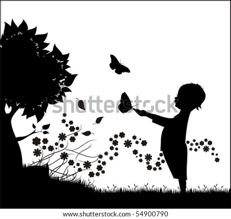 Silhouette of a baby playing with butterflies - stock vector