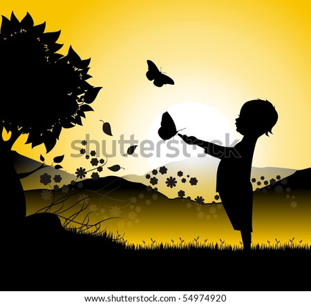 Silhouette of a baby with butterflies with a sunset or sunrise - stock vector