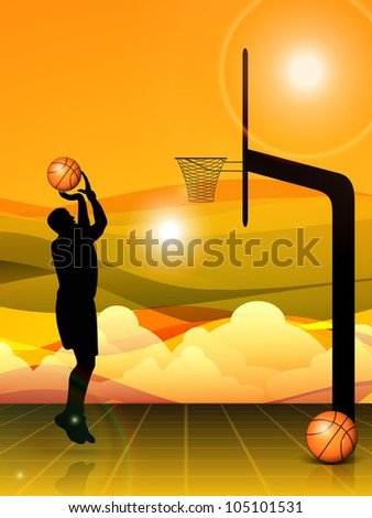 Silhouette of a basket ball player during practice, basket ball pillar and balls on beautiful abstract evening background. EPS 10 - stock vector