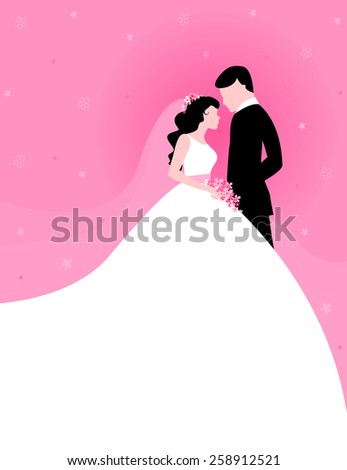 Silhouette of a beautiful bride and groom looking at each other clip art on pink floral background  - stock vector